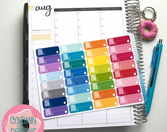 Bill Due Stickers - Colourful Brights | Sheet of 32 | Erin Condren Vertical Hourly Life Planner Stickers