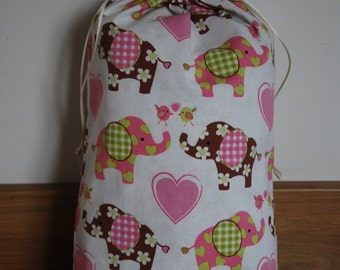 Elephant Drawstring Bag, Elephant Gift Bag, Elephant Drawstring Gift Bag, Birthday Bag, Birthday Gift Bag, Gift Sack, Drawstring Bag