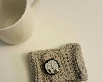 Mug Cozy • Crochet Ribbed Cozy • Coffee Cup • Coffee Cozy • Tea Cup Cozy • Holder • Sleeve! Gray w/ Chevron Elephant Button! Ready w Ship!