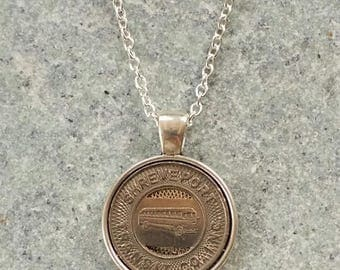 Handcrafted Shreveport Louisiana Transit Token Pendant Necklace