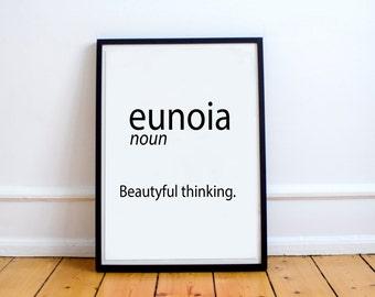 Beautiful Thinking Yoga Print Eunoia Typographic Print Dictionary Definition Art Typography Print Eunoia Word Art Office Art Meditation Art