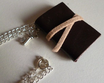 Mini leather book necklace, hand bound miniature brown leather notebook necklace with key charm