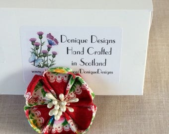 Cotton Fabric Flower Brooch. Kanzashi Style Brooch. Japanese Floral Brooches.