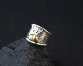 Boho Sun Ring / Sterling Silver and Brass / Wide Band