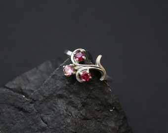 Sterling Silver Vine Ring with Pink and Red Gemstones