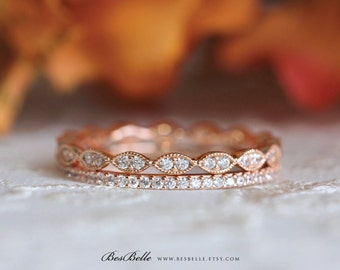Art Deco Eternity Ring Set-0.97 ct.tw Pave Set Diamond Simulant-Double All Eternity Band Ring-Rose Gold Plated-Sterling Silver [65360RGE-2]