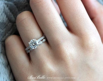 1.62 ct.tw Solitaire Art Deco Bridal Set Ring-Brilliant Cut Engagement Ring w/ All or Half Eternity Ring-Solid Sterling Silver [65406-2A]