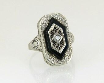 Antique Estate PSCO 14K White Gold Genuine Diamond & Black Onyx Art Deco Ring 4g
