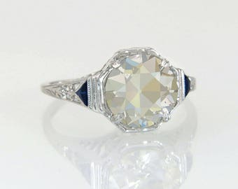 Antique 2.03ct GIA Fancy Light Brown Diamond & Sapphire 18K Gold Engagement Ring