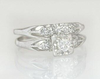 Antique .22ct Genuine Diamond 14K White Gold Art Deco Wedding Ring Set