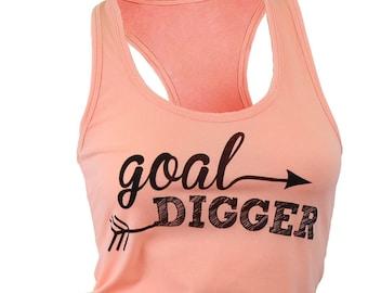 Goal Digger. tank top. workout tank. racerback tank. yoga tank. womens graphic tee. tops and tanks. gym shirts. motivational shirt.