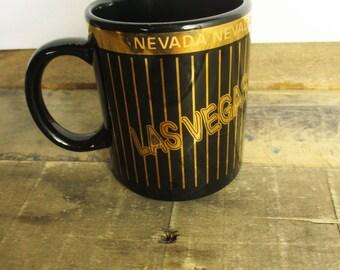 Vintage Las Vegas Souvenir Mug in Black and Gold. Kitschy Piece of Vegas' Past!
