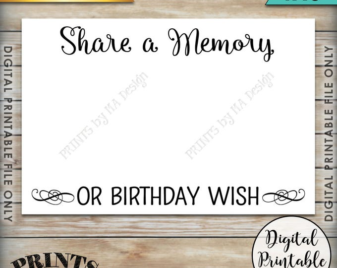 """Share a Memory or Birthday Wish, Share a Memory Card,  Please Leave a Memory, Wishes Birthday Party Decor, 4x6"""" Printable Instant Download"""