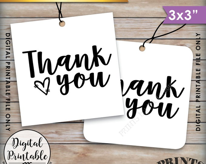 """Thank You Tags, Wedding Tags, Birthday Tags, Graduation Tags, Bridal Shower Tags, 3x3"""" tags on 8.5x11"""" Printable Instant Download"""