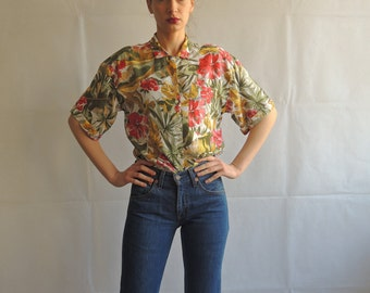 Vintage Floral Short Sleeve Button Up Shirt