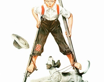 Stilt Walker Post Cover painted by Norman Rockwell in 1919. The page is approx. 11 1/2 inches wide and 15 inches tall.