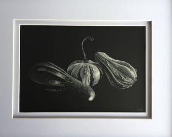 Framed Original Fall Gourds Scratchboard Art 5x7