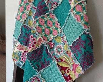 Baby Rag Quilt/Blanket/Riley Blake Botanique in shades of Teal/Handmade