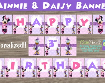 Minnie Mouse Birthday Banner, Daisy Duck Birthday Banner, Minnie Mouse Birthday, Minnie Mouse Party, Minnie and Daisy, Bunting Banner