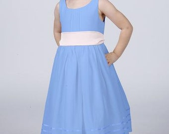Powder Blue Flower girl Dress by Matchimony with Complimentary Sash available in all Matchimony colours
