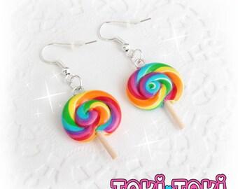 Lollipop Earrings, Rainbow Lollipop, Candy Earrings, Miniature Food Jewelry, Fun Jewelry, Carnival Food, Kawaii Earrings, Cute Earrings