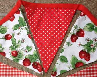 Fabric Bunting Banner Garland, Custom Length, Strawberries, Home Decor, Kitchen, Wall Decor, Shower, Wedding, Party, Photo Prop