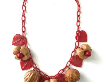 Sweet Vintage Celluloid Wood Bakelite Berries and Nuts Charm Dangle Necklace