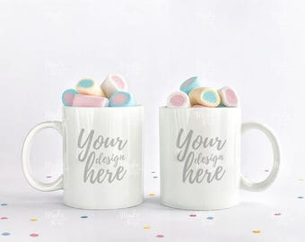Two white mugs stock photography / Instant download /#6143