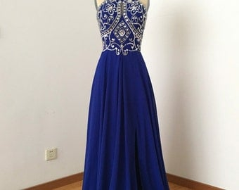 Backless Spaghetti Straps Royal Blue Chiffon Long Prom Dress 2017 with Slit and Silver Beads