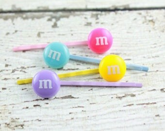 Candy Bobby Pins - Pastel Hair Pins - Easter Bobby Pins - Chocolate Hair Pins - Rainbow Bobby Pins - Kawaii Hair Pins - Food Bobby Pins