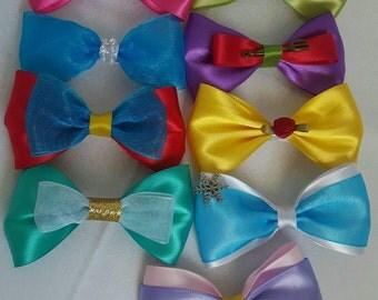 Princess bows (9 mini princess inspired hair bows)