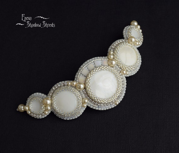 """Beadwork Hair Clip """"Angel"""" Bridal hair clip Beaded Barrette French clip White pearls Hairclip Nacre Gift for her Wedding barrette Marriage"""