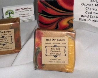 Citrus Patchouli Swirl handmade soap with Shea Butter - Skin loving - Stunning swirl bar!