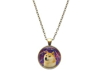 Meme necklace Doge pendant Space jewelry
