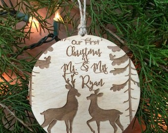 First Christmas Ornament, 1st Christmas, Buck and Doe Ornament, Deer Ornament, Christmas Ornament, Rustic Ornament, Woodland Ornament,