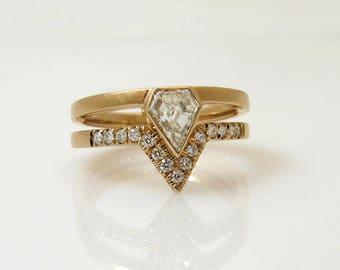 Diamond wedding Ring set with Pave Diamonds, 0.58 Ct V Diamond,  Unique Engagement Ring, Delicate Diamond ring set, Modern engagement ring