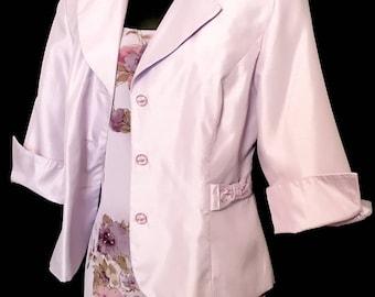 Lilac Floral Chiffon Dress with Silk Jacket           VG288