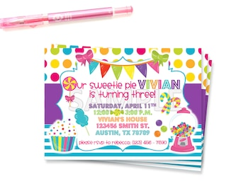 Sweet Shoppe Party, Sweet Shoppe Invite, Candyland Invitation, Candyland Birthday, Candy Invitation, Candy Printable, Sweet Shoppe,Candyland