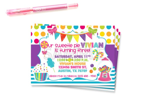 Sweet Shoppe Party Sweet Shoppe Invite Candyland Invitation