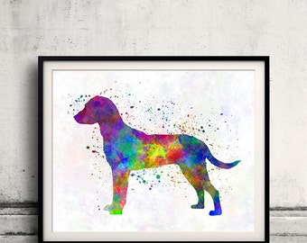 Montenegrin Mountain Hound 01 in watercolor - Fine Art Print Poster Decor Home Watercolor Illustration Dog - SKU 2297