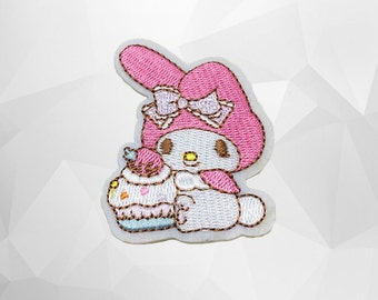 My Melody Iron on Patch(M2) - My Melody Cartoon Applique Embroidered Iron on Patch - Size 4.9x6.8 cm