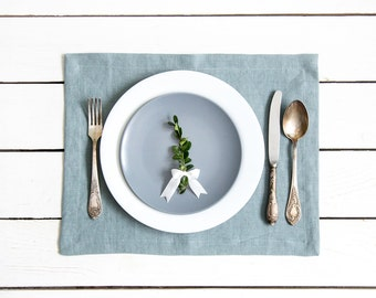 Blue Linen Placemats set of 2 made of natural flax and softened