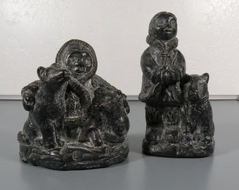 Man and Woman Eskimo and Bears 2 FIGURINES Wolf Original Carved Canada Soapstone