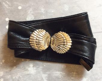 Seashell Buckle Leather Waist Belt