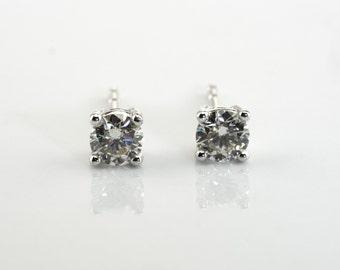 F/G white diamonds studs, prong set diamond earrings, white stud earrings, 14K white gold, diamond gold stud earrings, classic diamond studs
