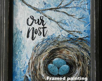 Our nest sign, our nest painting, nest sign, birds nest rustic sign,robin eggs rustic decor,robin nest painting,nest wall art,bless our nest