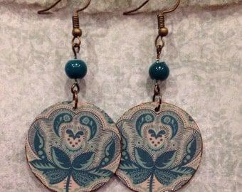 Blue Vintage-look Floral Print Up-cycled Cardboard Box Earrings
