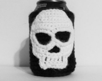 Crochet Skull and Cross Bone Can Cozy/Made to Order