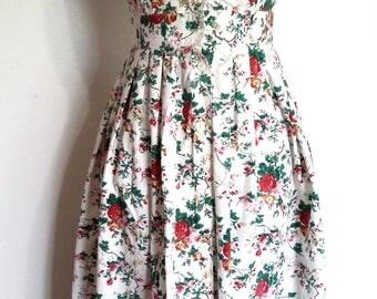 Floral dress, XXS, XS, roses dress, cotton dress, spring dress, summer dress, colonial print dress, cotton floral dress, vintage 70s