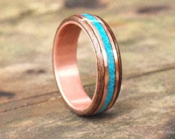 Wooden Rings - Bentwood Copper Walnut Turquoise Inlay Rings - Mens Wood Rings, Womens Wood Rings, Wood Engagement Rings, Wood Wedding Bands